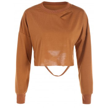 Hollow Out Long Sleeves Crop Top