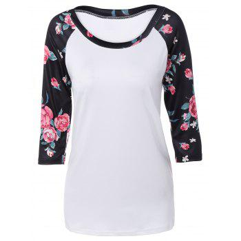 Autumn Floral Print Sleeve Casual T-Shirt - WHITE WHITE