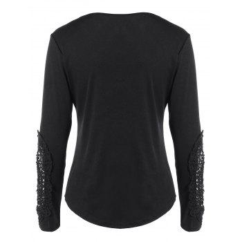 Concise Openwork Lace Buttons T-Shirt - XL XL