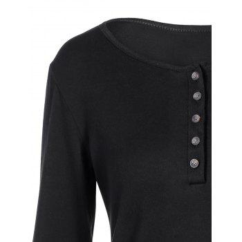 Concise Openwork Lace Buttons T-Shirt - BLACK S