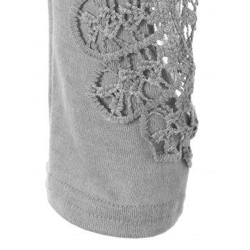 Concise Openwork Lace Buttons T-Shirt - GRAY M