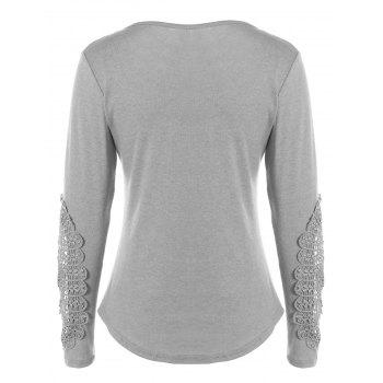 Concise Openwork Lace Buttons T-Shirt - GRAY GRAY
