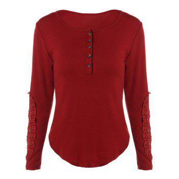 Concise Openwork Lace Buttons T-Shirt - WINE RED WINE RED