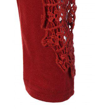 Concise Openwork Lace Buttons T-Shirt - WINE RED S