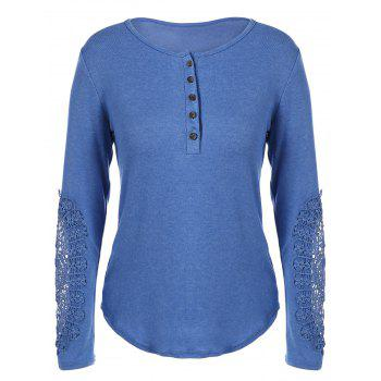 Concise Openwork Lace Buttons T-Shirt - BLUE 2XL