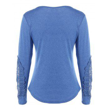 Concise Openwork Lace Buttons T-Shirt - BLUE XL