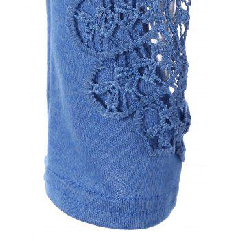 Concise Openwork Lace Buttons T-Shirt - BLUE M