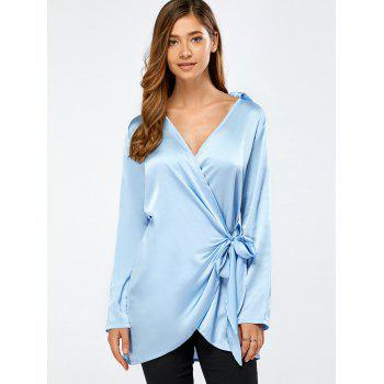 Soft Bowknot Plunging Satin Wrap Shirt