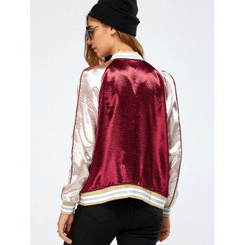 Autumn Lurex Color Block Baseball Jacket - Rouge vineux M