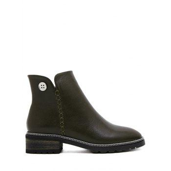 Stitching Button Chain Ankle Boots