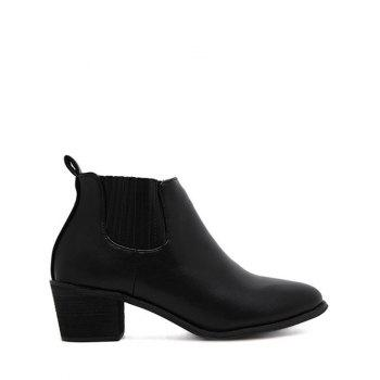 Chunky Heel Pointed Toe Stitching Ankle Boots