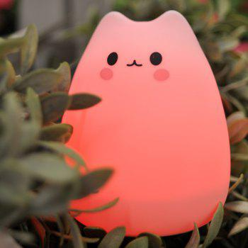 Remote Control Colorful Cat Cartoon USB Silica LED Night Light -  COLORFUL
