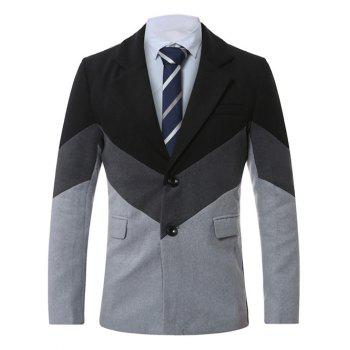 Single-Breasted Lapel Color Block Splicing Wool Coat