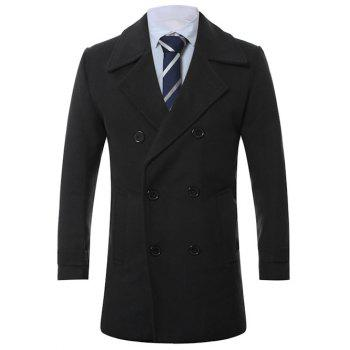 Lengthen Turn-Down Collar Double-Breasted Wool Coat