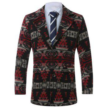Single-Breasted Lapel Vintage Geometric Print Wool Coat