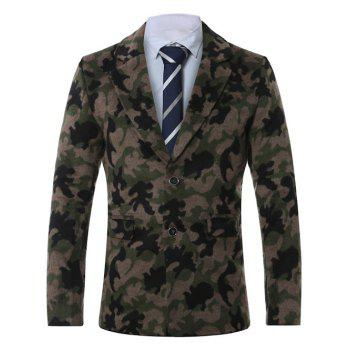 Single-Breasted Lapel Camouflage Print Wool Coat