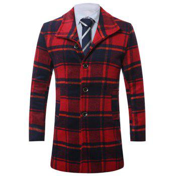 Single-Breasted Lapel Vintage Tartan Wool Coat