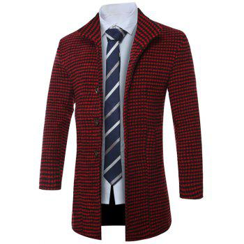 Single-breasted Lapel Houndstooth Manteau en laine - Rouge 2XL