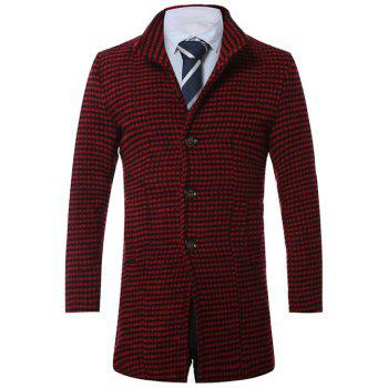 Single-Breasted Lapel Houndstooth Wool Coat