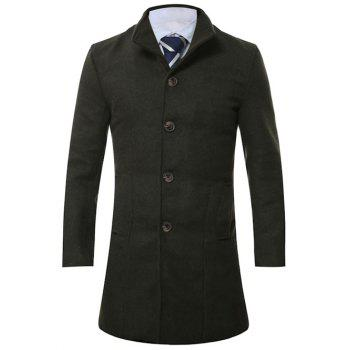 Single Breasted Stand Collar Longline Wool Coat