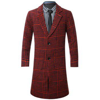 Single-Breasted Lapel Houndstooth Splicing Wool Coat