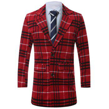 Single-Breasted Lapel Tartan Wool Coat