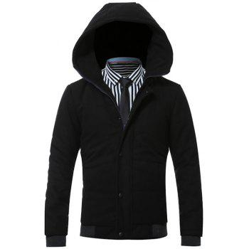 Hooded Zip-Up Rib Splicing Design Padded Jacket
