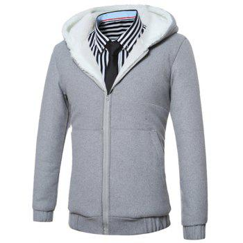 Fleece Hooded Zip-Up Hoodie - GRAY L