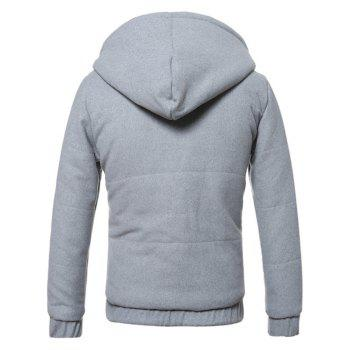 Fleece Hooded Zip-Up Hoodie - GRAY M