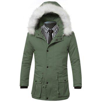 Buy Furry Hood Zip-Up Drawstring Pockets Padded Coat GREEN