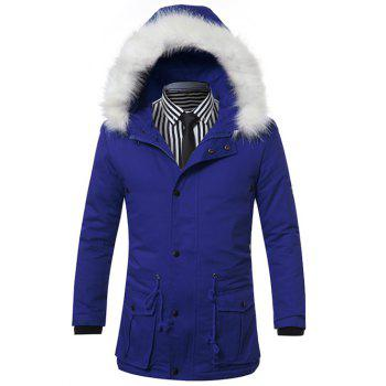 Furry Hood Zip-Up Drawstring Pockets Padded Coat