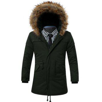 Furry Hood Zip-Up Drawstring Pockets Parka Coat ARMY GREEN