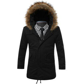Buy Furry Hood Zip-Up Drawstring Pockets Parka Coat BLACK