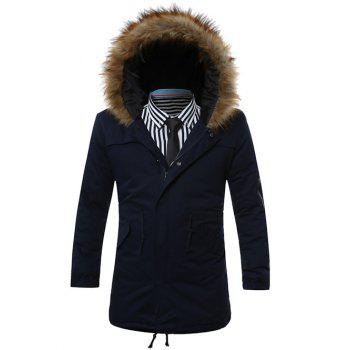 Buy Furry Hood Zip-Up Drawstring Pockets Parka Coat CADETBLUE