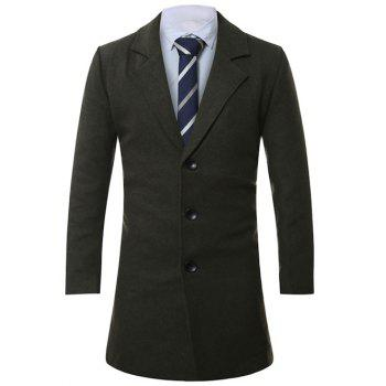 Single-Breasted Lapel Lengthen Wool Coat