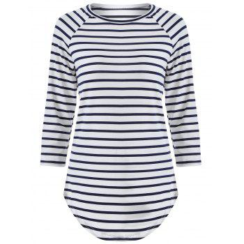 3/4 Sleeve Striped T Shirt
