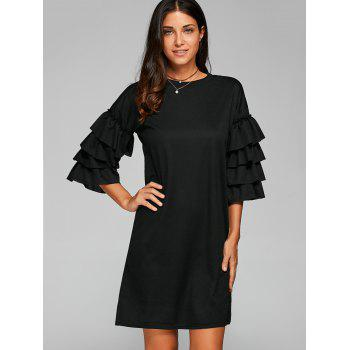 Ruffle 3/4 Sleeve Casual Dress