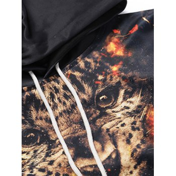 Kangaroo Pocket Tiger 3D Print Drawstring Hoodie - BLACK 2XL