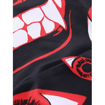 Kangaroo Pocket Eyes Printing Pullover Hoodie - RED / BLACK 2XL