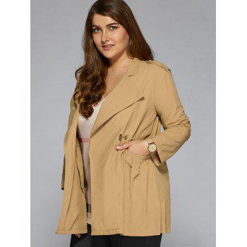 Plus Size String Trench Coat - KHAKI 3XL