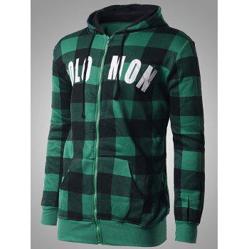 Letter Print Zip-Up Plaid Hoodie - GREEN 2XL