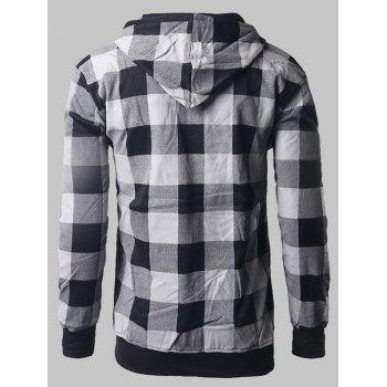 Letter Print Zip-Up Plaid Hoodie - BLACK L
