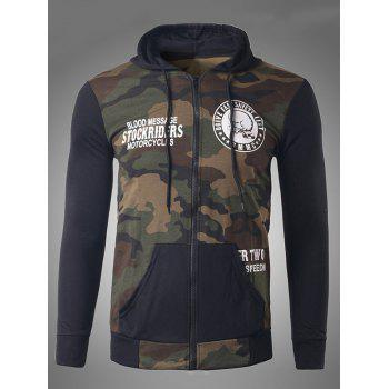 Skeleton Print Zip-Up Camouflage Hoodie