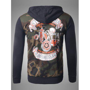 Skeleton Print Zip-Up Camouflage Hoodie - COFFEE L
