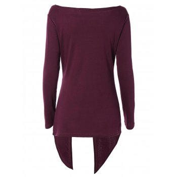 Cowl Neck Asymmetrical T-Shirt - RED VIOLET XL