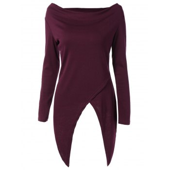 Cowl Neck Asymmetrical T-Shirt - RED VIOLET S