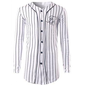 Vertical Striped Button Up Sweatshirt