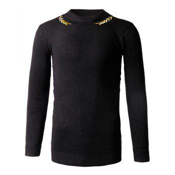 Slim-Fit Embroidery Crew Neck Sweater