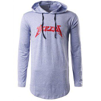 Printed Long Sleeve Hooded T-Shirt