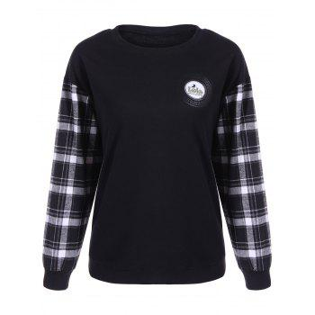 Letter Applique Plaid Patchwork Sweatshirt